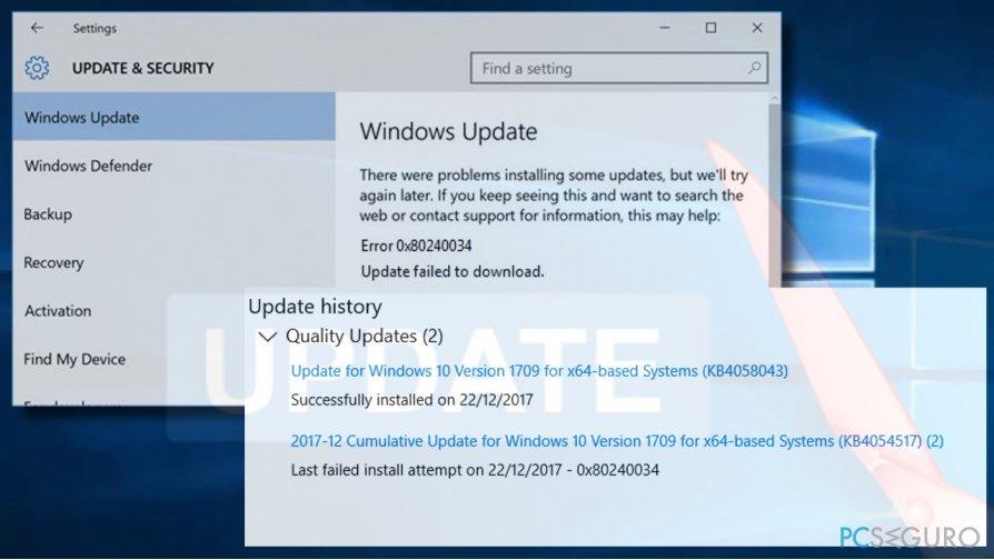Fix 0x80240034 error