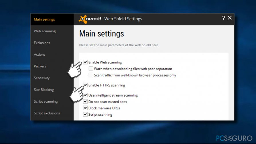 Turn off Enable Web scanning and HTTPS scanning on Avast