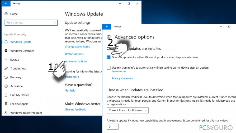 Change Windows Update settings