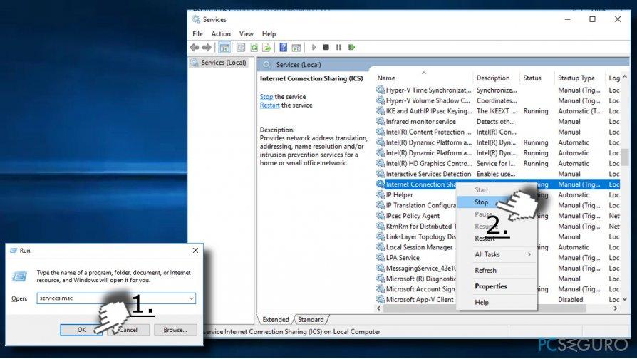 Disable Windows processes