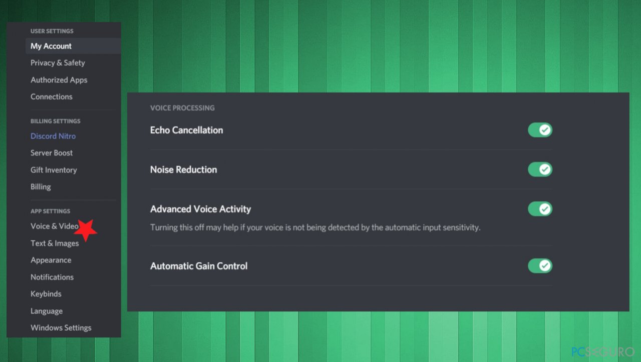 Discord voice settings