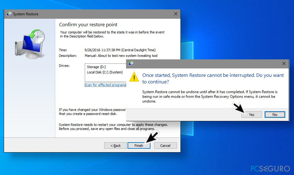 Enable system restore point