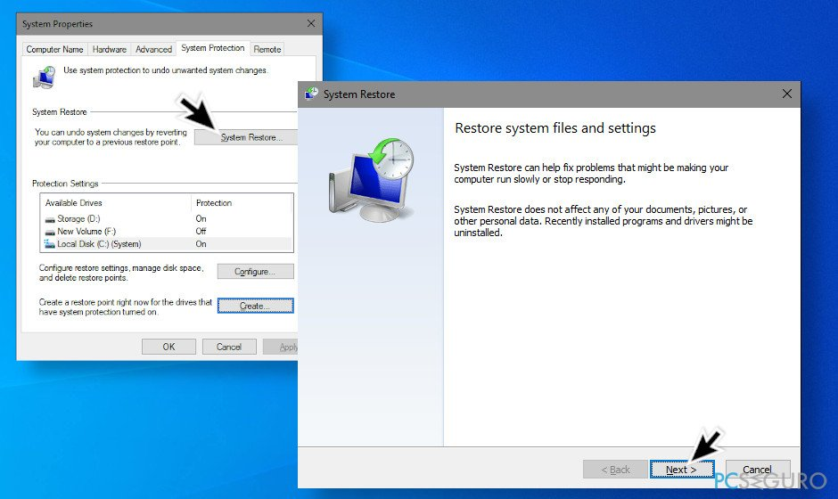Perform a system restore point