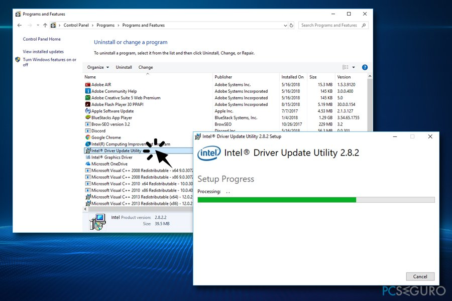 Uninstall Intel Driver Update Utility