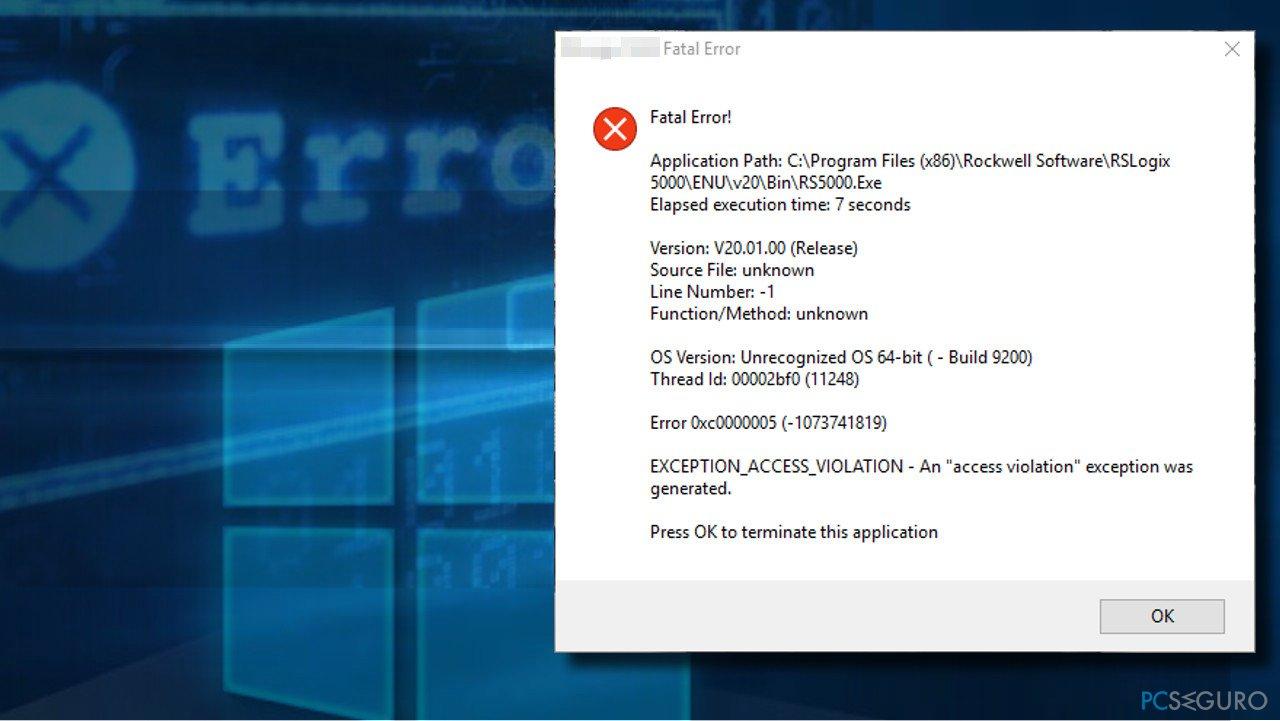 EXCEPTION_ACCESS_VIOLATION error