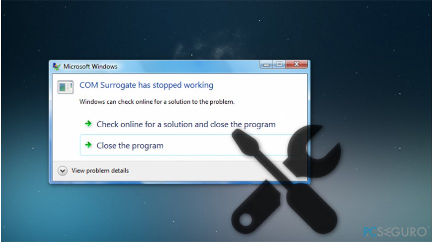 """COM Surrogate has stopped running"" error"