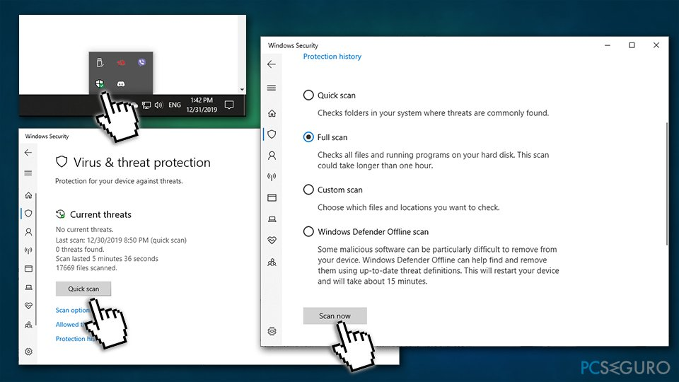Scan the PC for malware