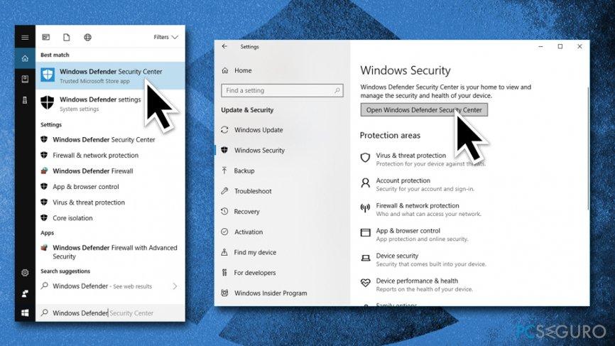 Open Windows Security Center