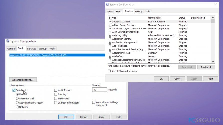 Change services settings