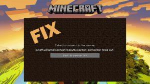 ¿Cómo solucionar el error de conexión de Minecraft io.netty.channel.ConnectTimeoutException?