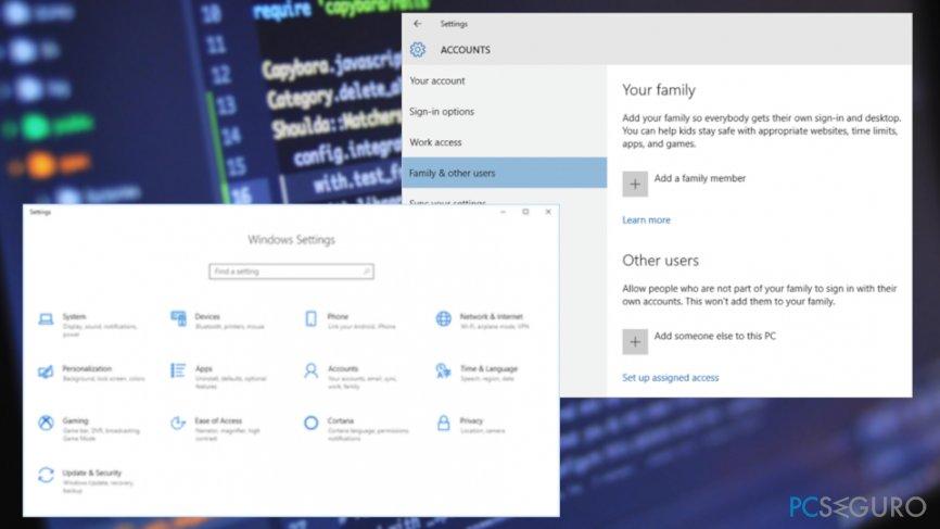 User settings on Windows