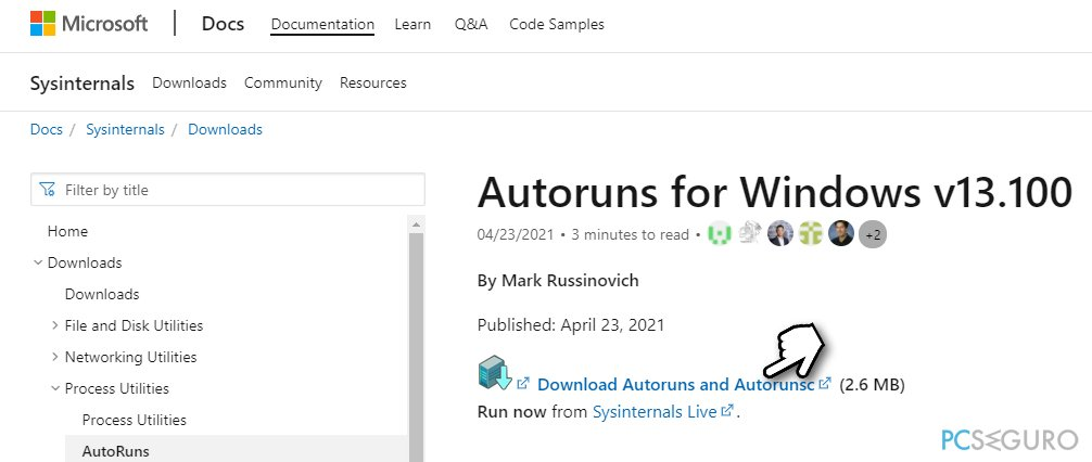 Download Autoruns for Windows