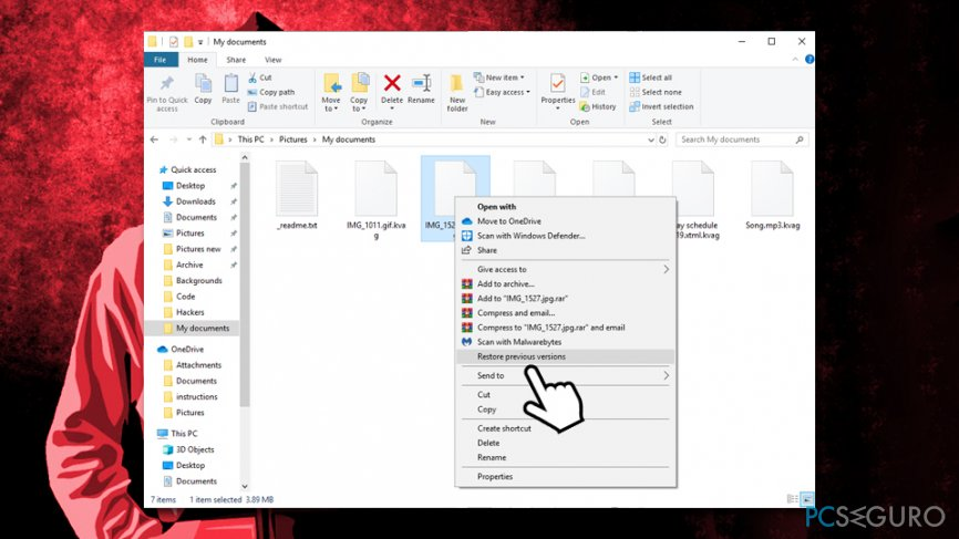 Use Windows Previous Versions feature