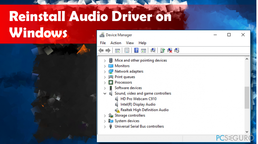 showing the reinstall process of Audio drivers on Windows 10