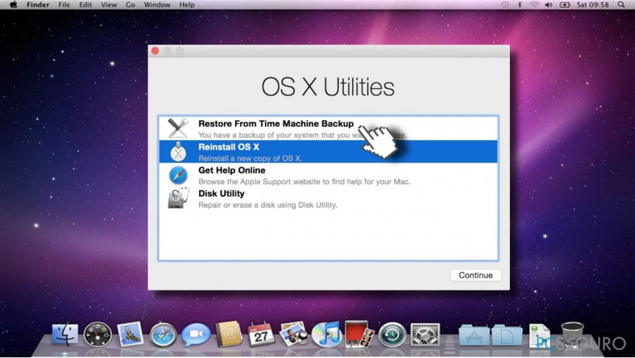 Restore Mac from the Time Machine backup