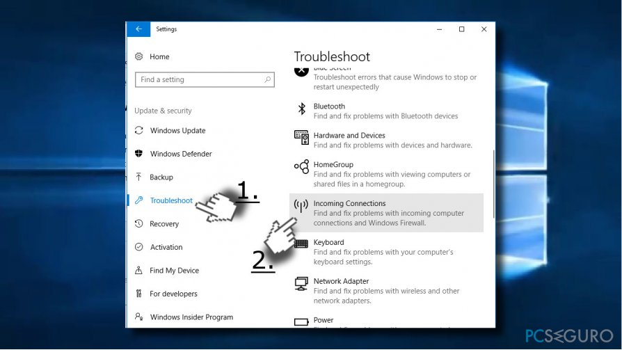 Run connection troubleshooter