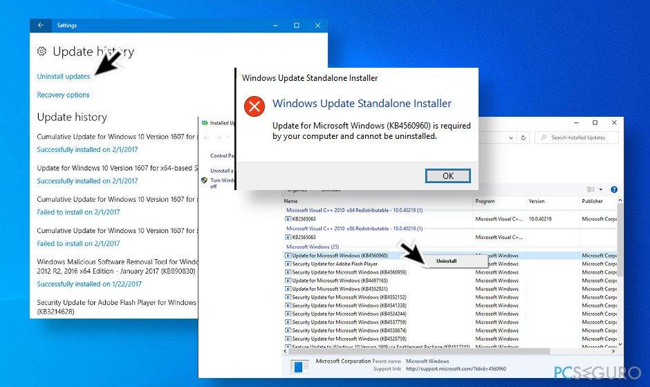 Windows 10 update uninstall error