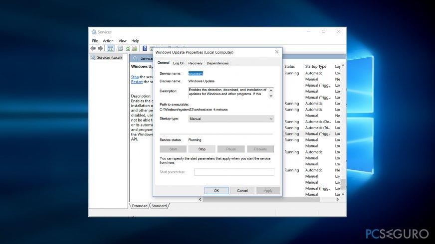 Set Windows Update startup type to Manual