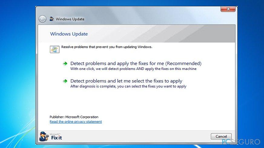 Run Windows Update Troubleshooter (Microsoft FixIt tool)